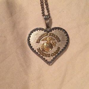 USMC heart necklace